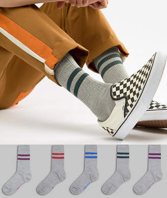 Asos DESIGN sports style socks in summer weight with color stripes & gray base 5 pack