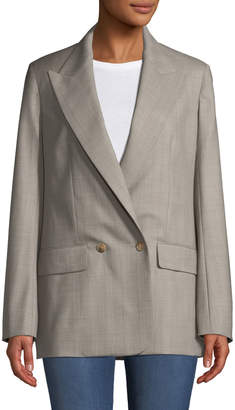 The Row Presner Double-Breasted Canvas Wool Blazer