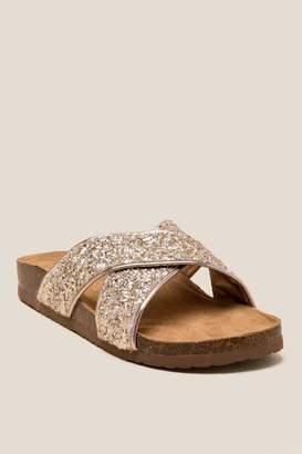 francesca's Audri Crisscross Metallic Footbed Sandal - Gold