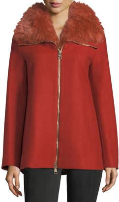 Herno Long-Sleeve Zip-Front Wool Coat w/ Fur Collar