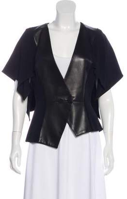 Andrew Gn Leather-Trimmed Short Sleeve Jacket