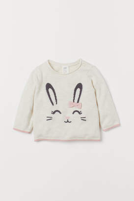 H&M Fine-knit Sweater with Bow - White