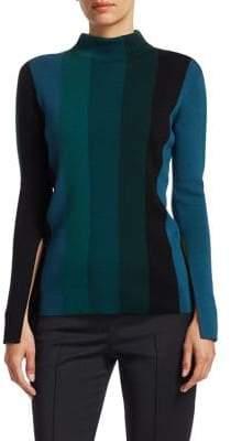 Akris Punto Striped Slit-Sleeve Knit Wool Turtleneck