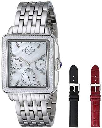 GV2 by Gevril Bari Multi Womens Diamond Chronograph Swiss Quartz Rectangle With Additional Black and Red Leather Straps Stainless Steel Bracelet Watch