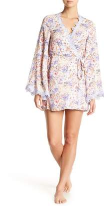 Jonquil In Bloom by Lace Trim Wrap Robe