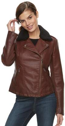 Moto Women's Sebby Collection Sherpa Collar Faux-Leather Jacket