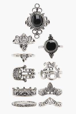 boohoo NEW Womens Hand & Elephant 10 Ring Pack in Silver size One Size