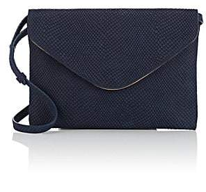 Barneys New York WOMEN'S LEATHER ENVELOPE TRAVEL CLUTCH - NAVY