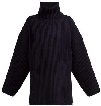 Acne Studios Ribbed Knit Roll Neck Wool Sweater - Womens - Navy