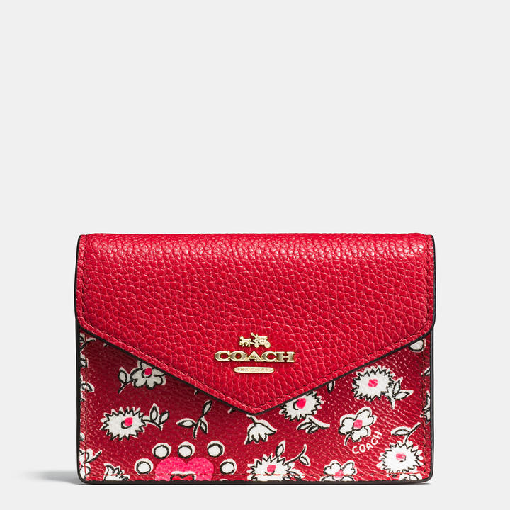Coach   COACH Coach Envelope Card Case In Wild Hearts Print Coated Canvas