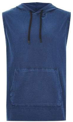 Topman Mens Grey Washed Blue Hooded Tank