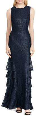 Ralph Lauren Ruffled Lace Gown