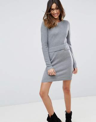 Asos Design Knitted Dress With Wrap Detail