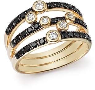 Bloomingdale's Black and White Diamond Triple Row Band in 14K Yellow Gold - 100% Exclusive