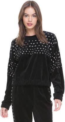 Juicy Couture Floral Embellished Velour Pullover