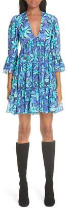 Michael Kors Daisy Print Tiered Silk Georgette Minidress