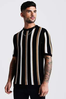 boohoo Regular Fit Vertical Stripe Knitted T-Shirt