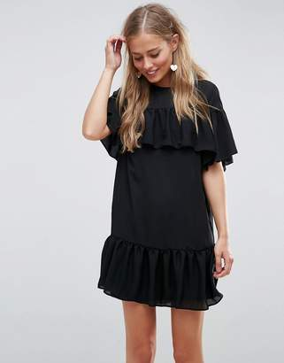 Asos Design Sheer Shift mini dress with Pep Hem