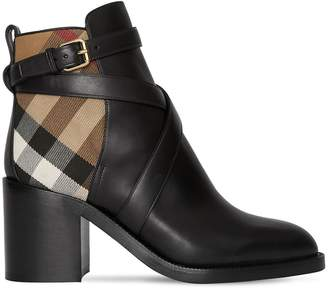 Burberry 70mm Pryle Leather & Check Boots