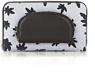 Alexander Wang Continental Zip Wallet In Leaf Printed Pale Blue With Coin Pouch
