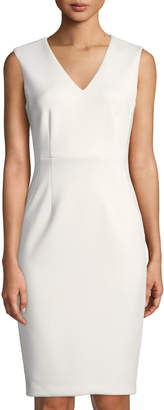 Iconic American Designer V-Neck Sleeveless Sheath Dress