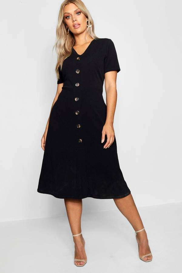 boohoo Plus Button Front Midi Dress