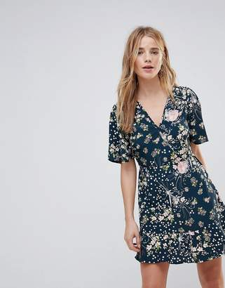 Band of Gypsies Floral Wrap Dress