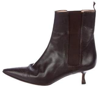 Manolo Blahnik Pointed-Toe Leather Boots