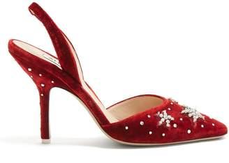 The Crystal Embellished Velvet Slingback Pumps - Womens - Red