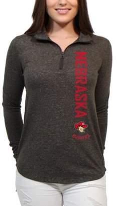 NCAA Nebraska Huskers Cascade Text Women's/Juniors Team Long Sleeve Half Zip Shirt