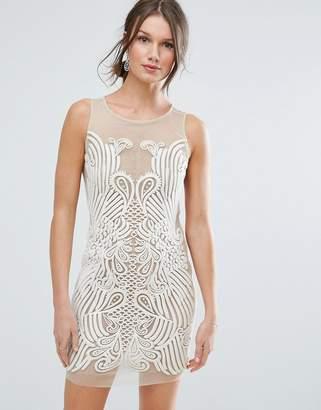 Asos Design Placed Illusion Embroidered Mini Dress