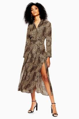 650fec17c6 Topshop Womens Animal Print Midi Shirt Dress