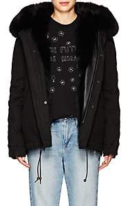 Mr & Mrs Italy Women's Fur-Trimmed & -Lined Hooded Mini-Parka - Black