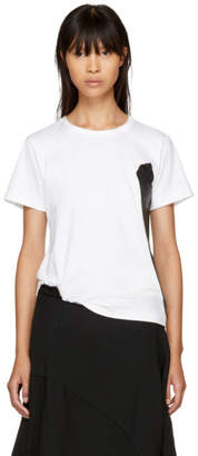 Comme des Garcons White and Black Rubber Panel T-Shirt
