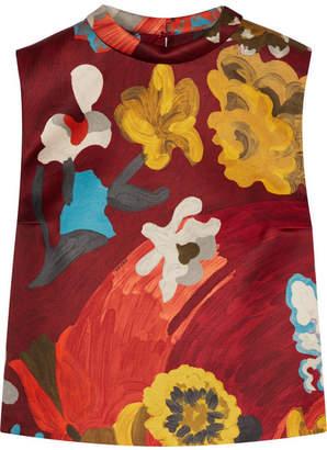 Printed Wool And Silk-blend Top - Multi