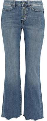 MiH Jeans Lou Distressed Mid-rise Kick-flare Jeans