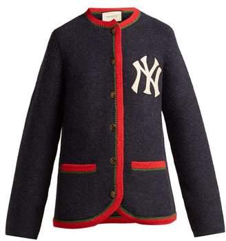 Gucci Yankees Logo Wool Blend Cardigan - Womens - Navy Multi