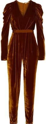 Ulla Johnson Sabine Ruffled Grosgrain-trimmed Velvet Jumpsuit - Brown