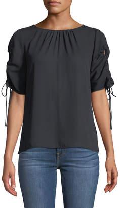Tahari ASL Thea Drawstring Short-Sleeve Blouse Black