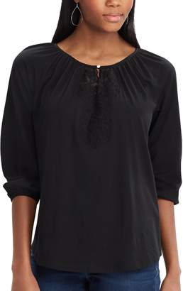 Chaps Women's Embroidered Peasant Top