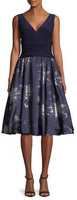 Eliza J Sleeveless Ruched Waist Midi Dress