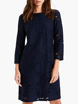 Phase Eight Kacie Lace Shift Dress, Navy