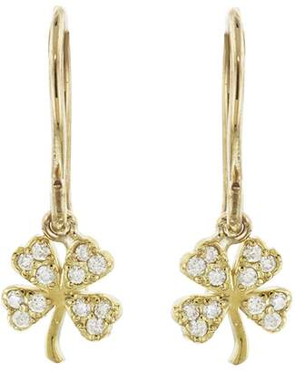 Jennifer Meyer Mini Diamond Clover Earrings - Yellow Gold