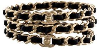 Chanel Leather Chain Bangle Set