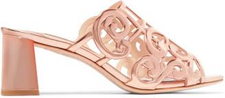 Sophia Webster Birdie Cutout Metallic Leather Mules - Gold