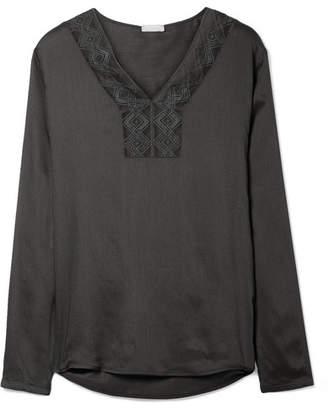 Hanro Liane Lace-trimmed Gauze Pajama Top - Charcoal