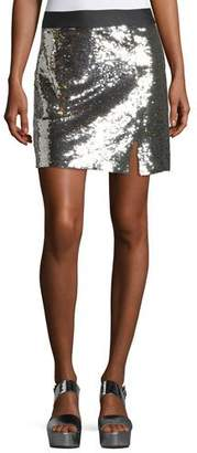 Nanette Lepore Showtime Front-Slit Sequin Mini Skirt