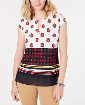 Tommy Hilfiger Mixed-Print Zippered Top