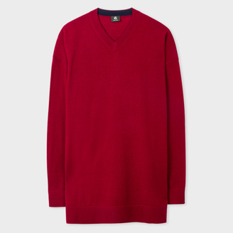 Women's Oversized Damson Merino Wool V-Neck Sweater $250 thestylecure.com