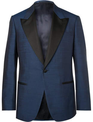 Kingsman Harry's Navy Faille-Trimmed Silk Tuxedo Jacket